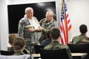 Maj. Honeycutt and Lt. Campbell of LynchburgCAP Demonstrate Proper Splinting Technique.